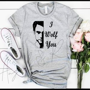 I Wolf ♥️ YOU Gray Graphic Tee Shirt